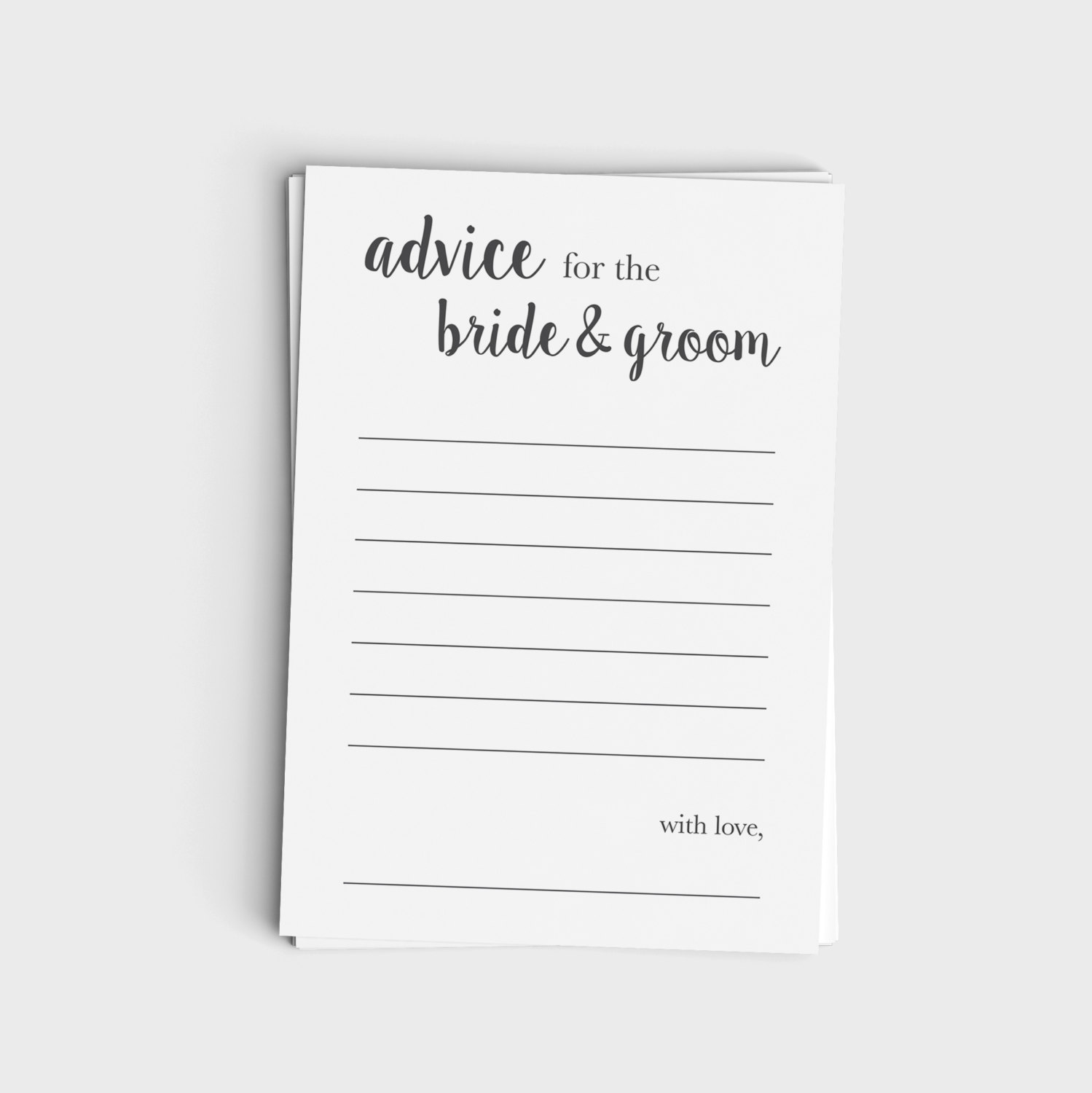Advice Card for Bride & Groom - Minimalist Modern Gray Design