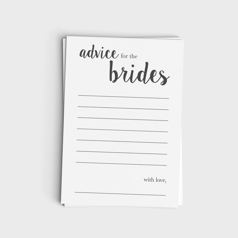 Advice Card for Brides - Minimalist Modern Gray Design