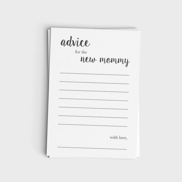 Advice Card for New Mommy - Minimalist Modern Gray Design