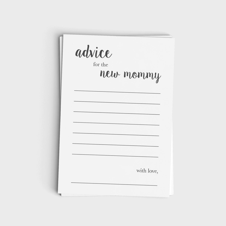 Advice Card for New Mommy - Minimalist Modern Gray Design