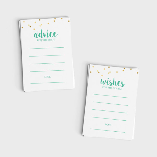 Advice for Bride/Wishes for Couple Mini Cards - Mint & Glitter Design