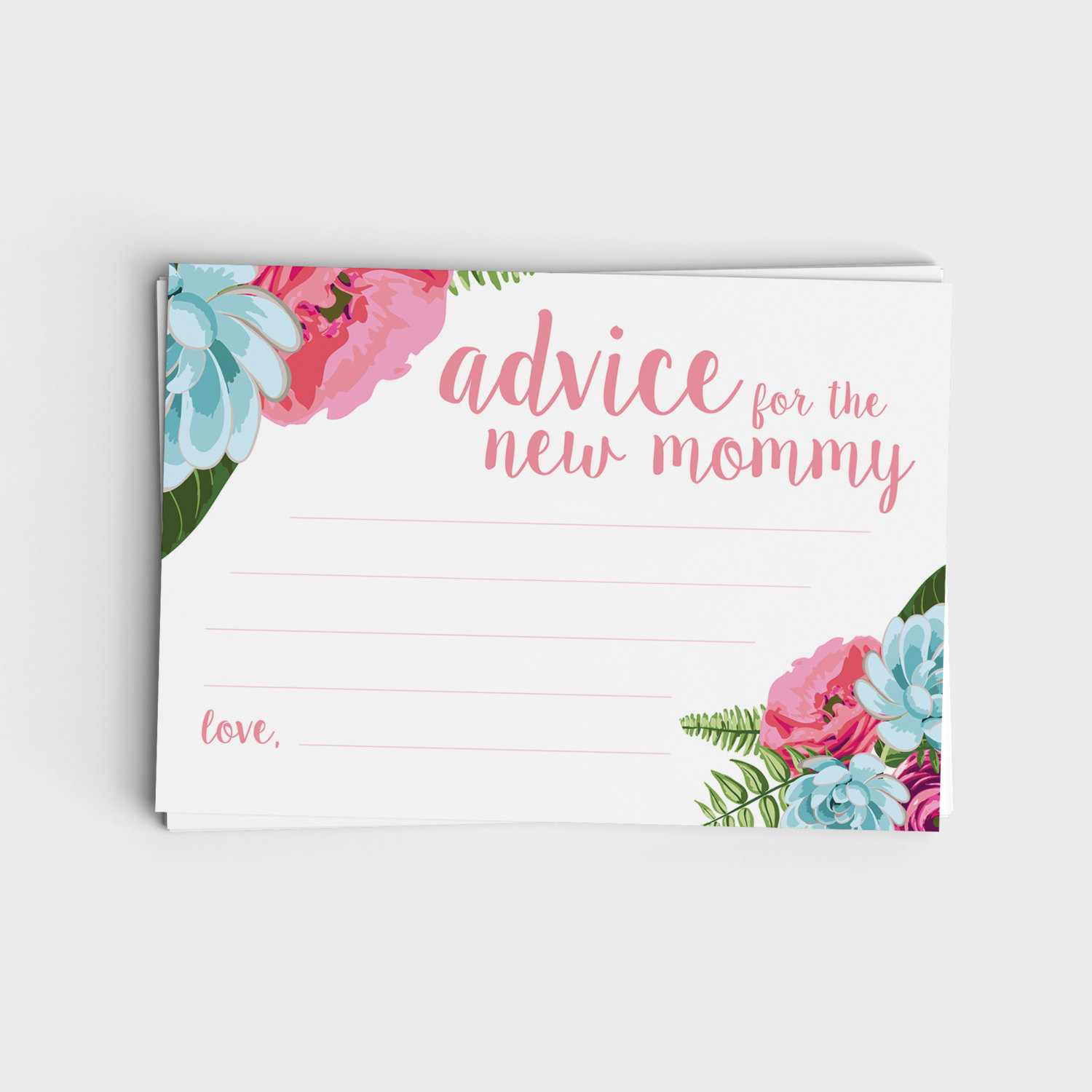 Advice for New Mommy - Pink Floral & Blue Floral