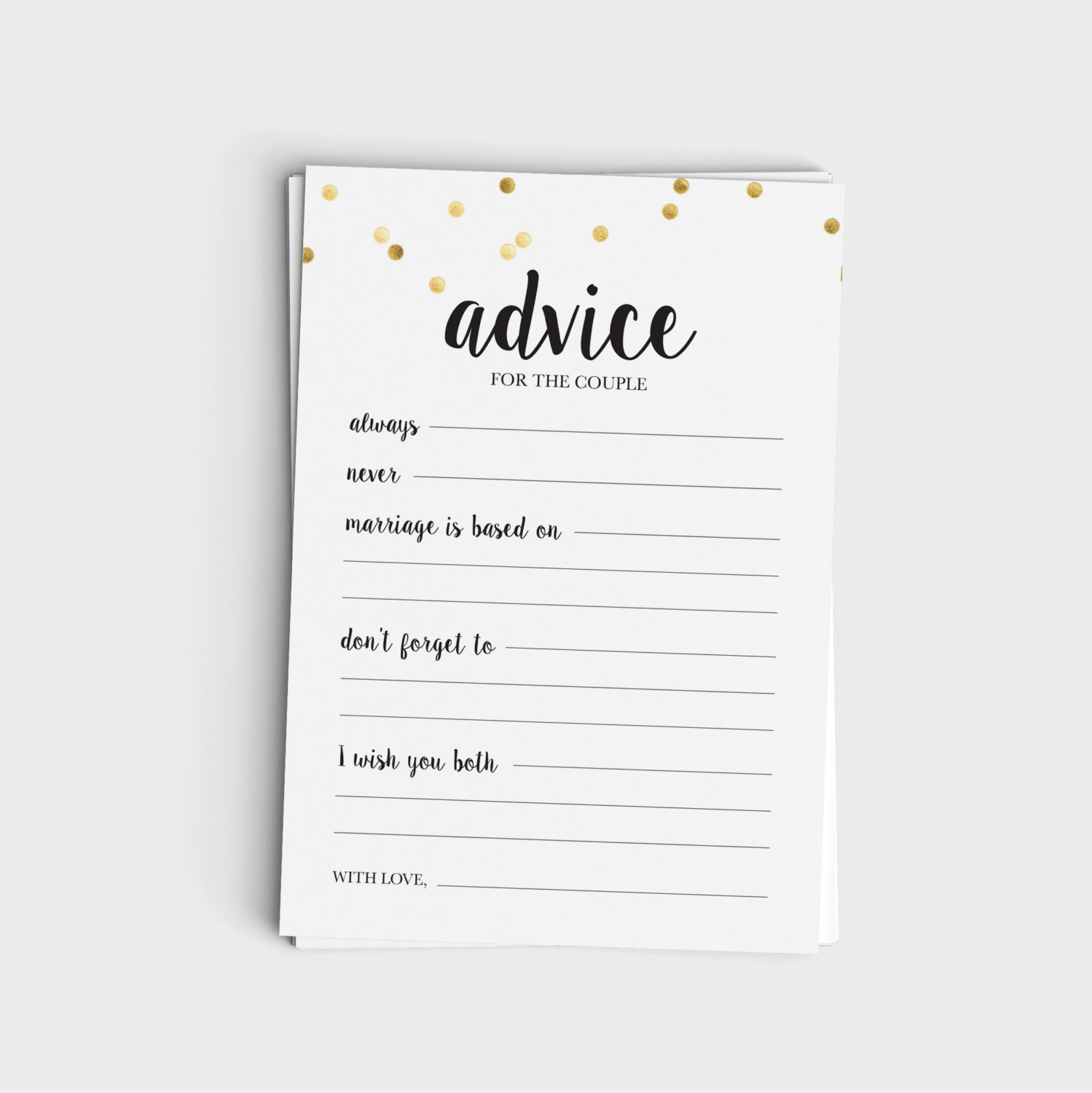 Advice for the Couple - Black & Glitter Design