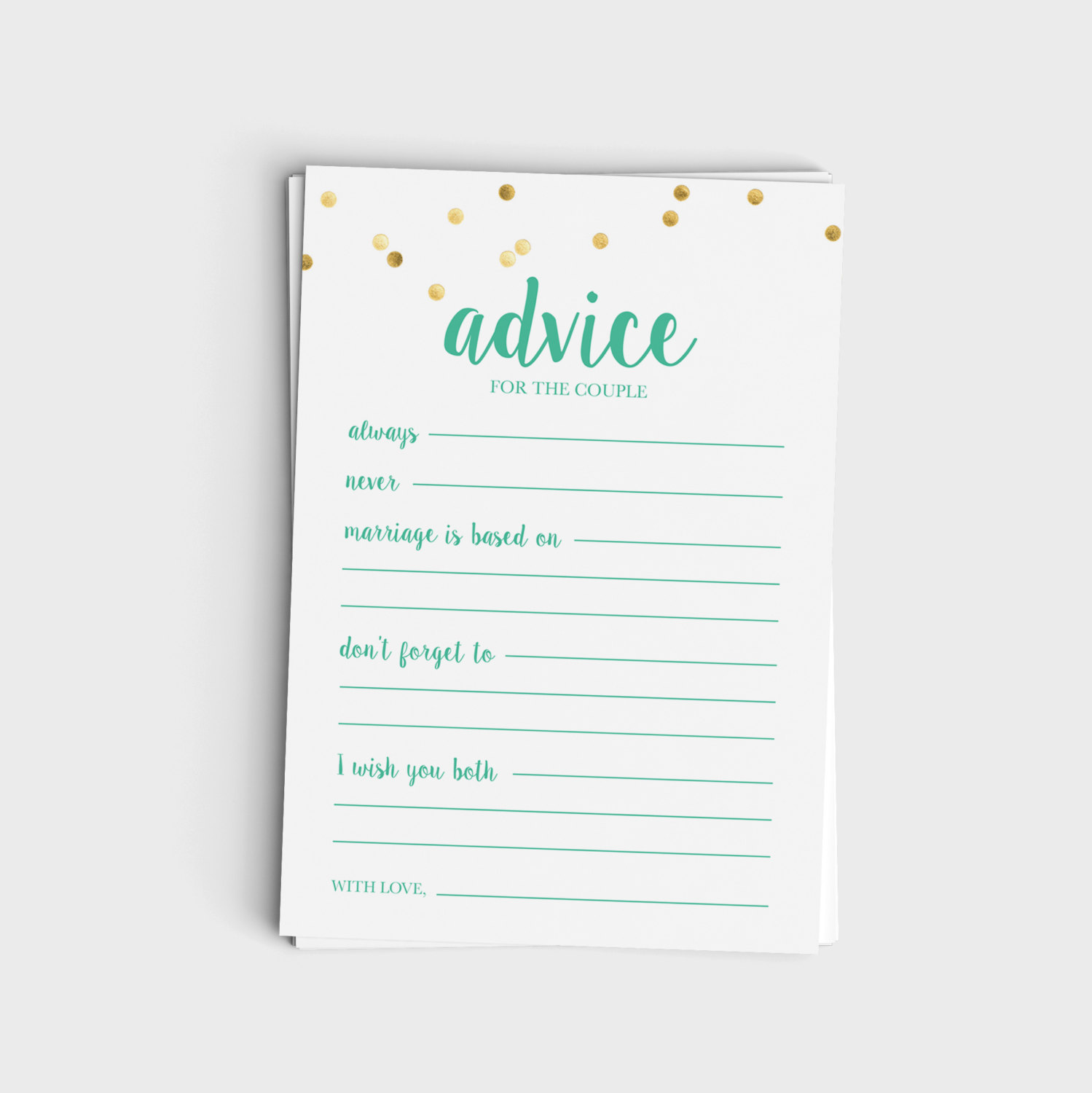 Advice for the Couple - Mint & Glitter Design
