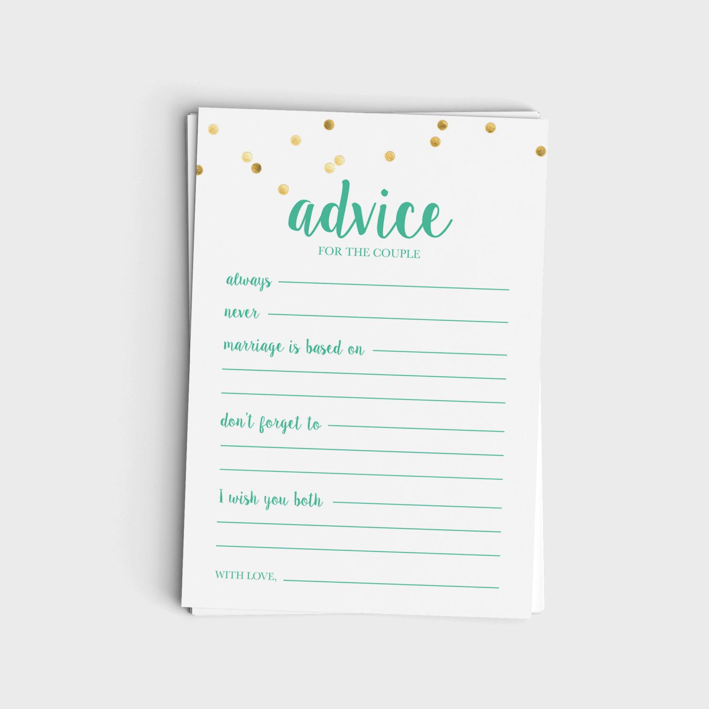 Advice for the Couple - Mint & Glitter Design