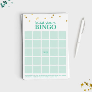 Bridal Shower Bingo Game - Mint & Glitter Design