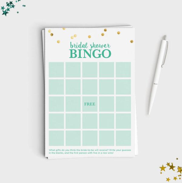Bridal Shower Bingo Game - Mint & Glitter Design