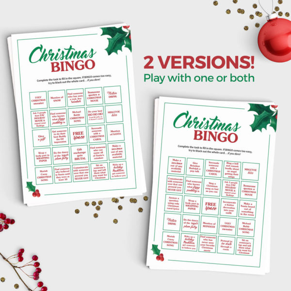 Christmas Bingo Scavenger Hunt Game - Instant Download