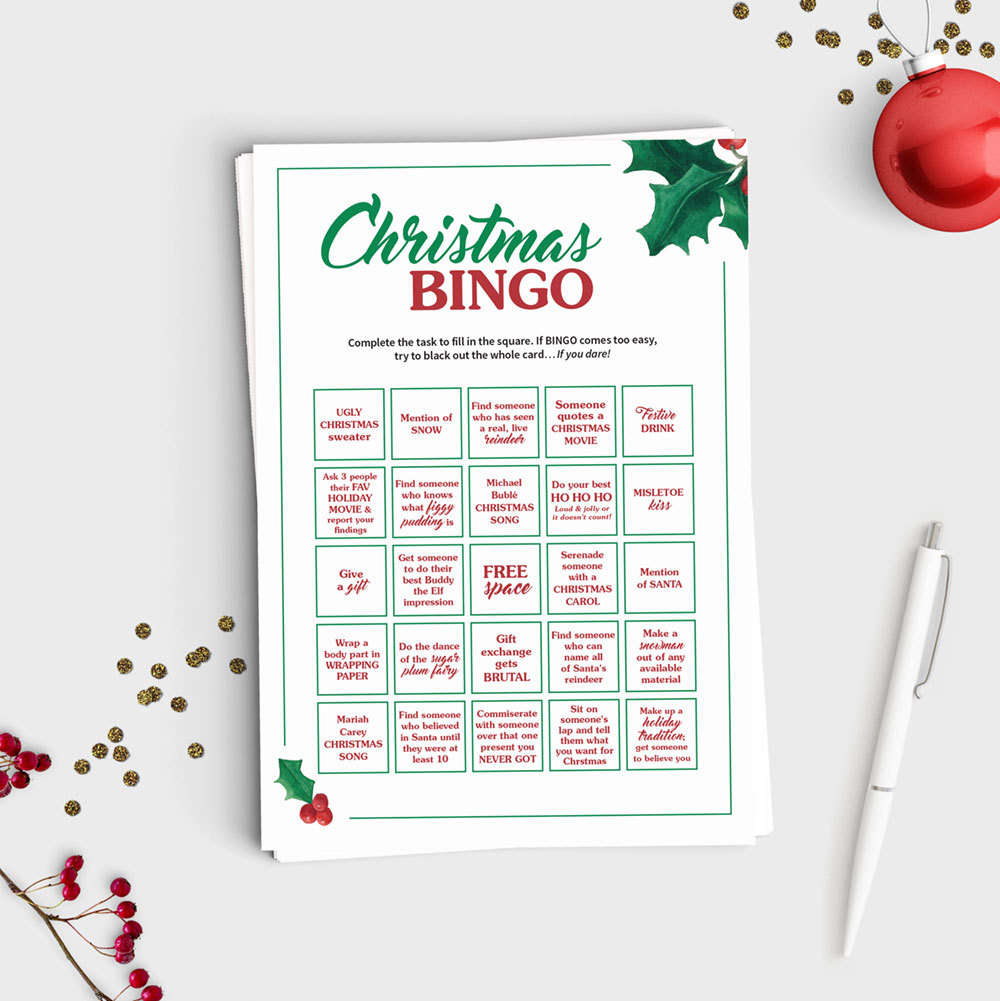 Christmas Bingo Scavenger Hunt Game - Instant Download