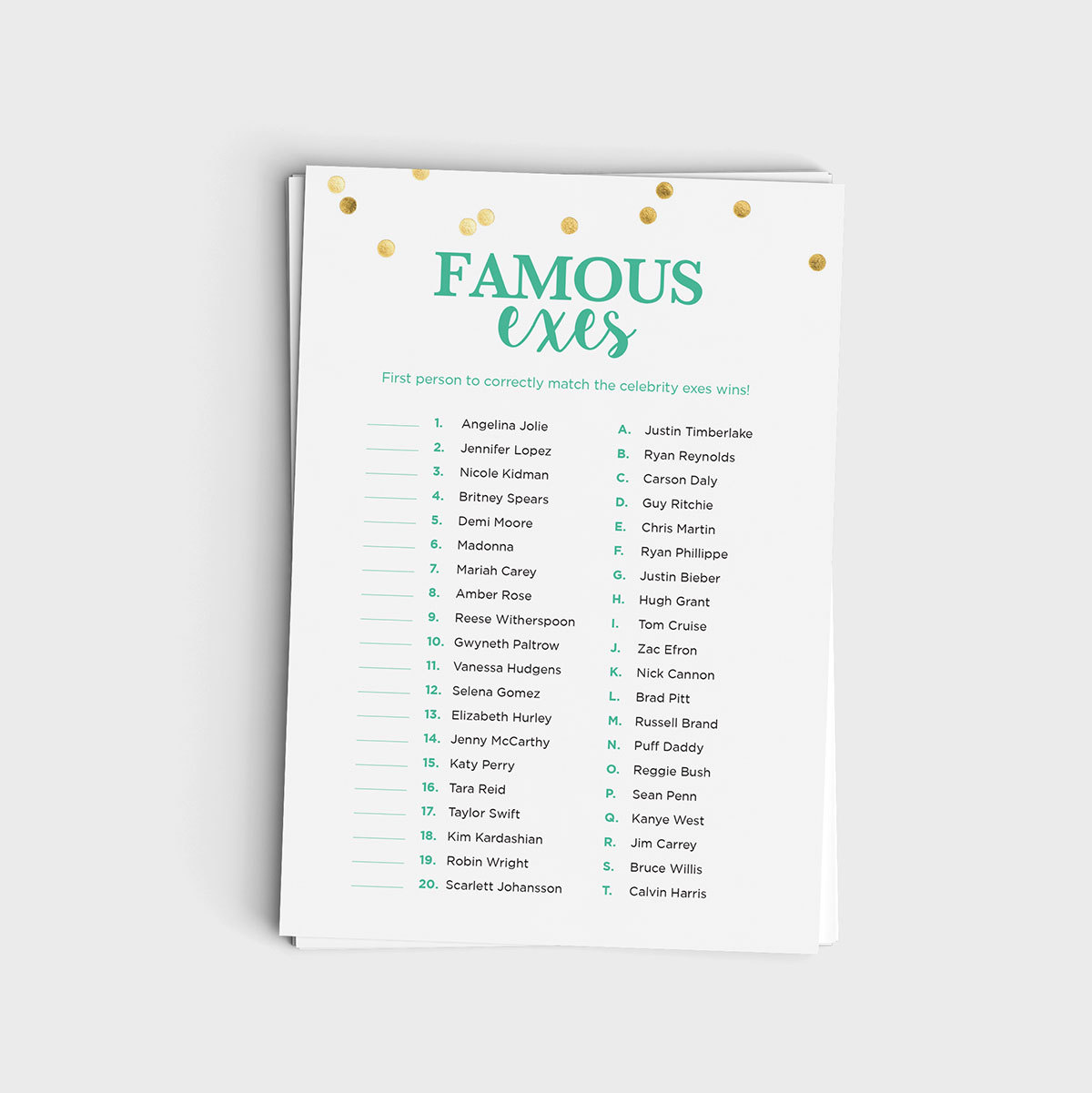 Famous Exes Match Game - Mint & Glitter Design