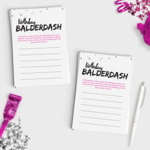 Fun Adult Birthday Game - Balderdash Mini Cards with Sign