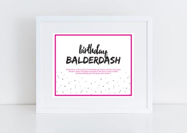 Fun Adult Birthday Game - Balderdash Mini Cards with Sign