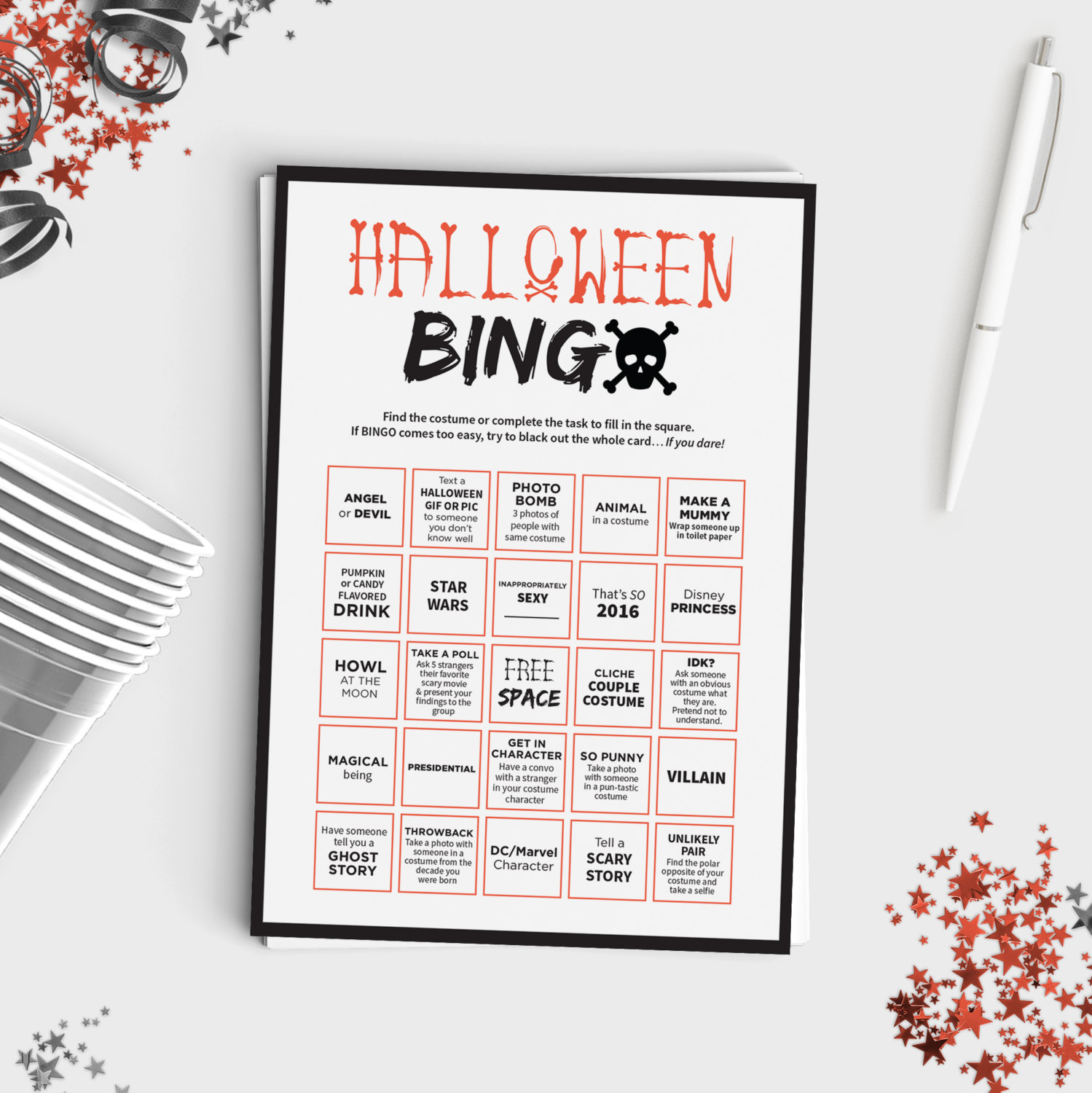 Halloween Bingo Scavenger Hunt | Favors & Stuff