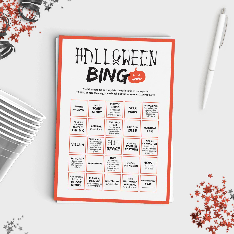 Halloween Bingo Scavenger Hunt | Favors & Stuff