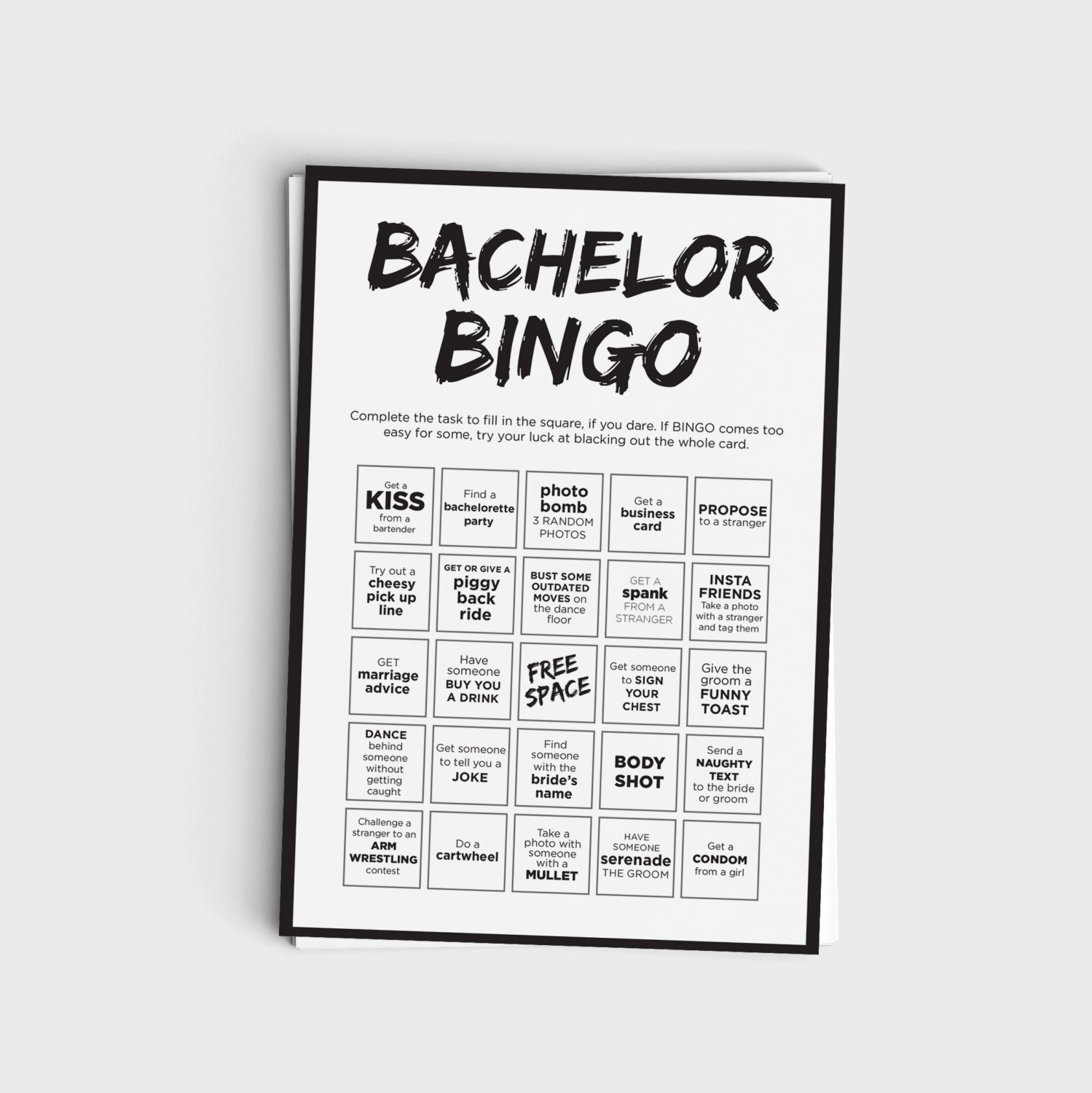 Fun Bachelor Party Bingo Scavenger Hunt Game