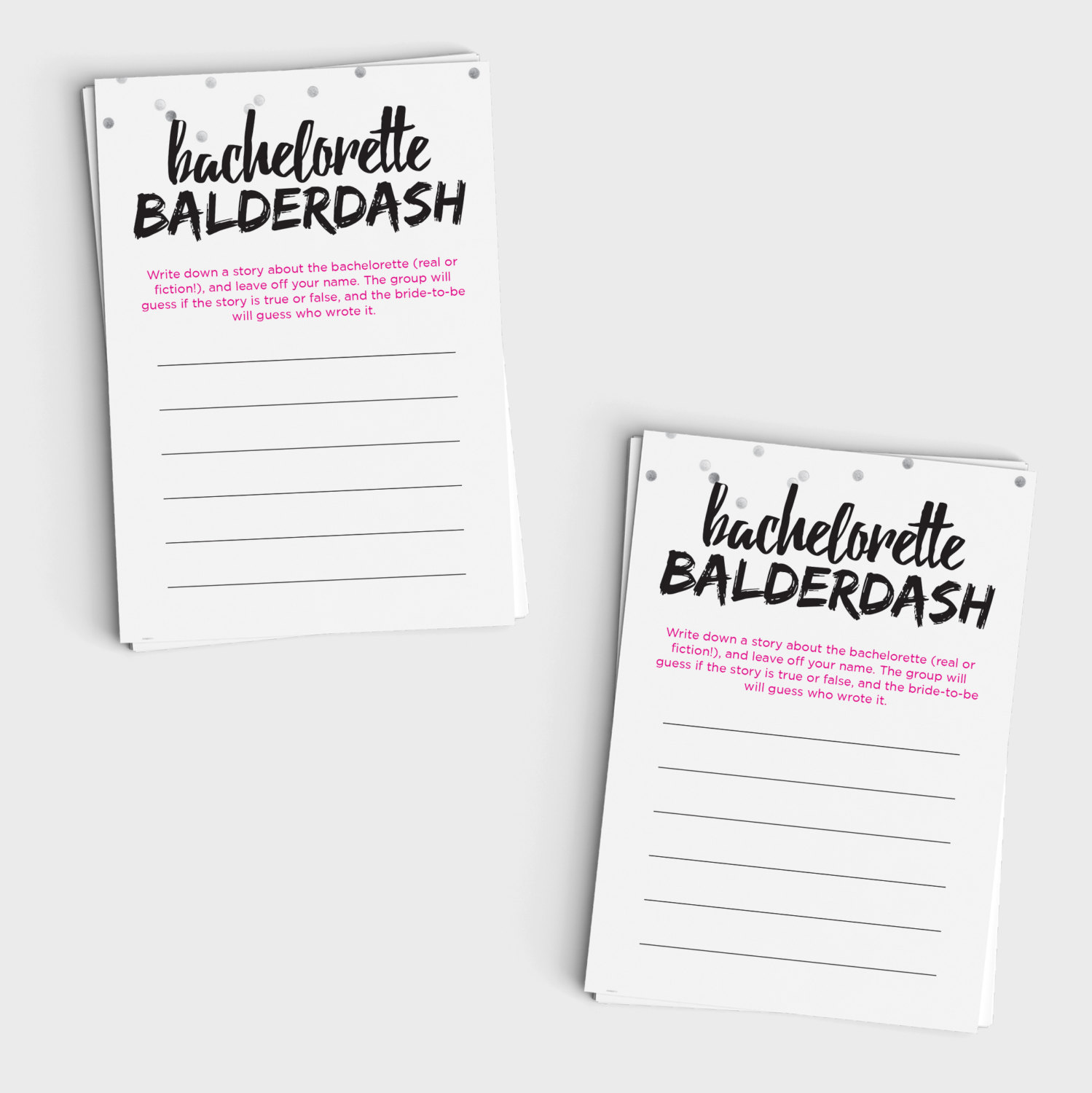 Fun Bachelorette Game - Bachelorette Balderdash Mini Cards and Sign