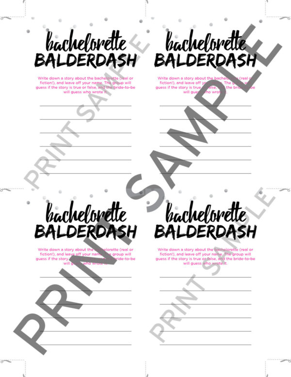 Fun Bachelorette Game - Bachelorette Balderdash Mini Cards and Sign