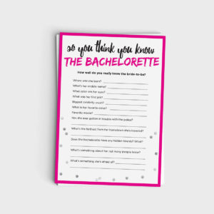 Fun Bachelorette Quiz Game - Instant Download