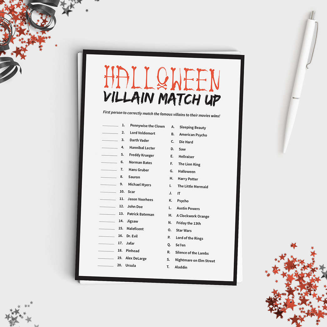 halloween match up game instant download