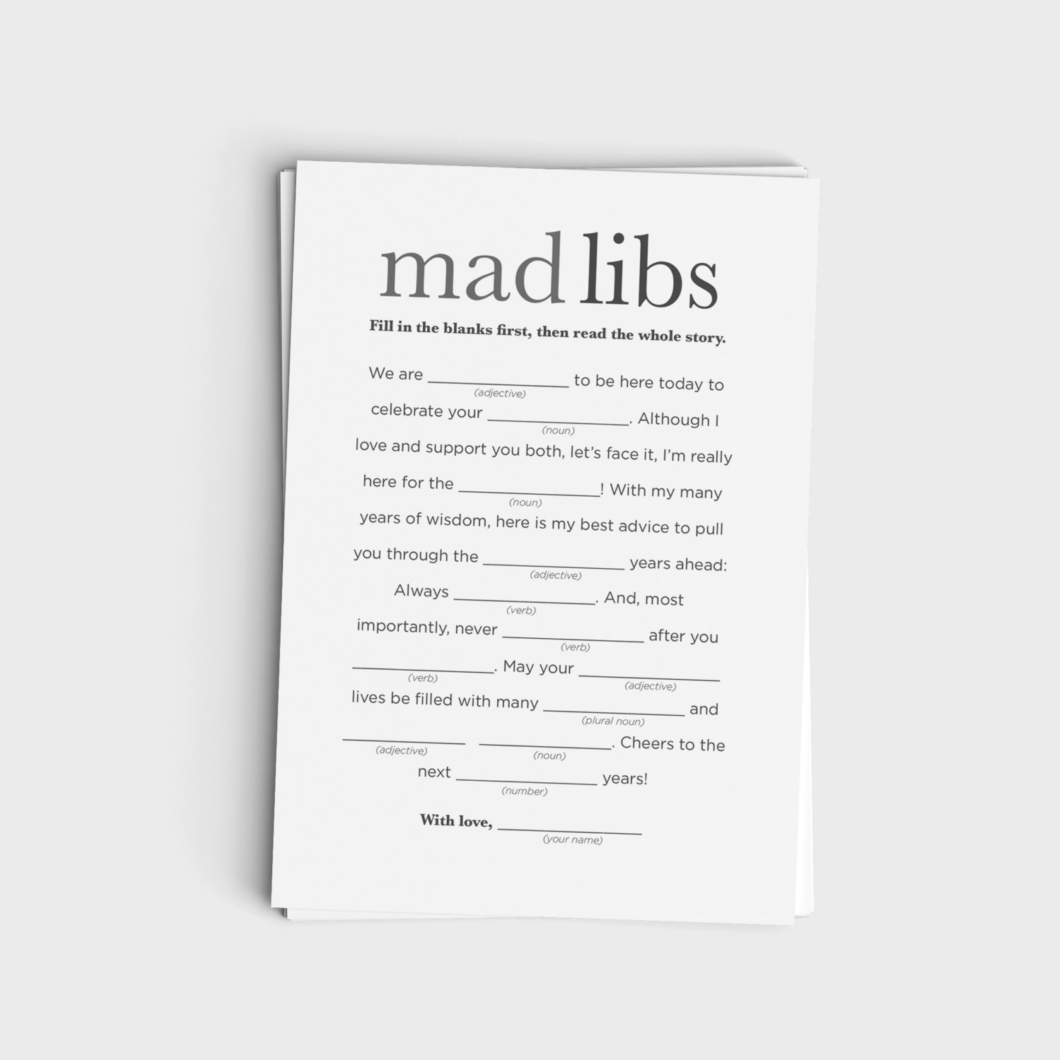 Mad Libs - Minimalist Modern Gray Design