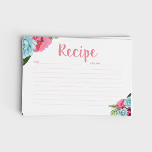Recipe Card - Pink and Blue Floral Design