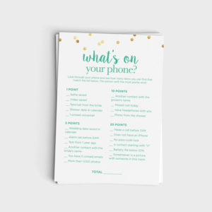 What's On Your Phone Game - Mint & Glitter Design